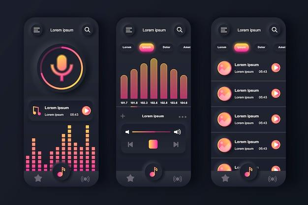 Kit de design preto neumorfo exclusivo para leitor de música.