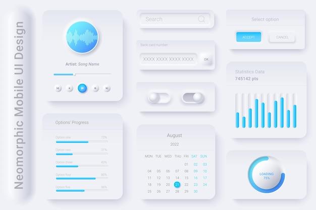 Kit de elementos de design branco neomorphic ui ux