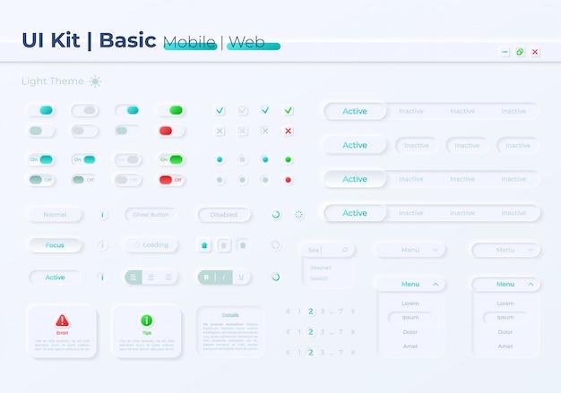 Kit de elementos de interface de botões de opção