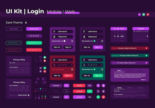 Kit de elementos de interface do usuário de login. formulário de registro. modelo de ícone, barra e painel de vetor isolado de autorização de sistema. coleção de widgets de web design para aplicativos móveis com interface de tema escuro