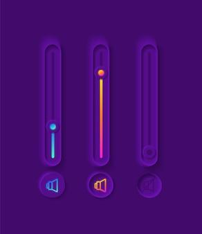 Kit de elementos de iu dos controles deslizantes de volume
