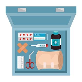 Kit de elementos médicos ícone vector ilustração design