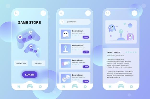 Kit de elementos neumórficos de design glassmorphic da loja de jogos para conjunto de telas ui ux de aplicativos móveis