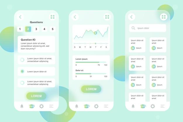 Kit de elementos neumórficos de design glassmorphic de aprendizagem on-line para conjunto de telas ui ux de aplicativos móveis