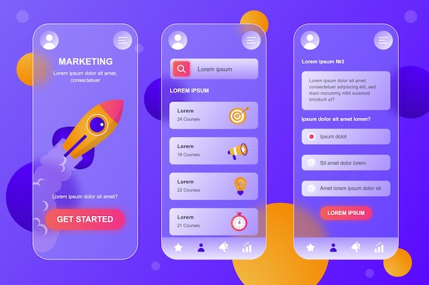 Kit de elementos neumórficos de design glassmorphic de marketing para conjunto de telas ui ux de aplicativos móveis