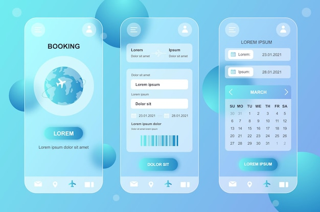 Kit de elementos neumórficos de design glassmorphic para reservas de viagens para aplicativos móveis ui ux gui screens set