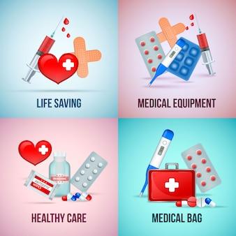Kit de emergência médica de primeiros socorros, conceito quadrado com comprimidos de termômetro de símbolo de coração