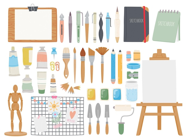 Kit de ferramentas do artista. materiais de pintura e caligrafia dos desenhos animados. cadernos de desenho e canetas, cavalete, aquarela, pincéis e tubos. desenho de conjunto de vetores