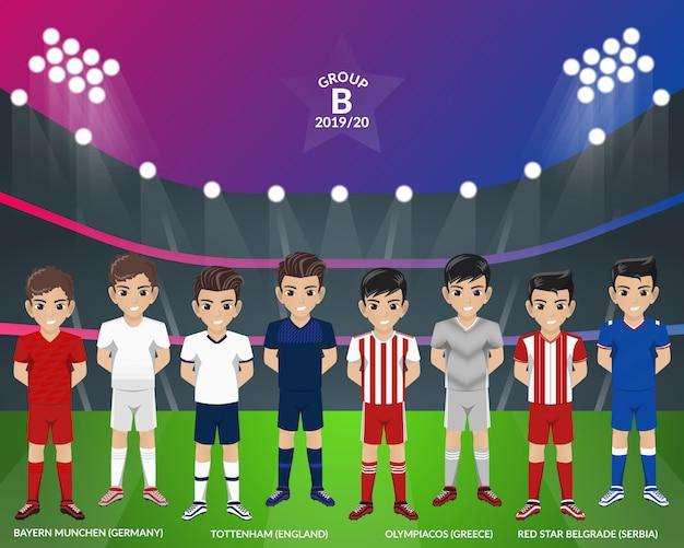 Kit de futebol de futebol do campeonato europeu do grupo b