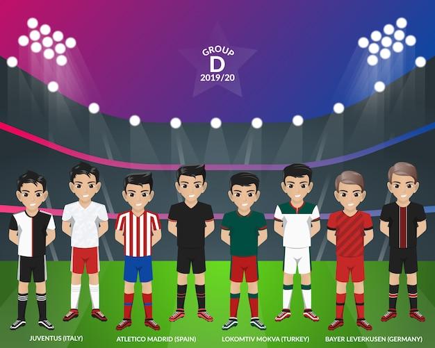 Kit de futebol de futebol do campeonato europeu do grupo d