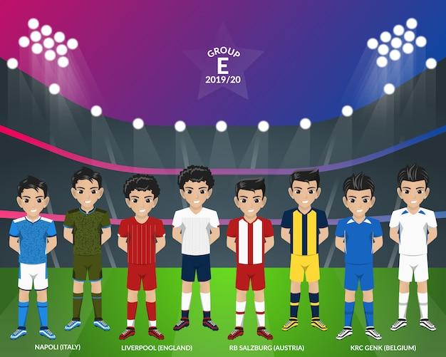 Kit de futebol de futebol do campeonato europeu do grupo e