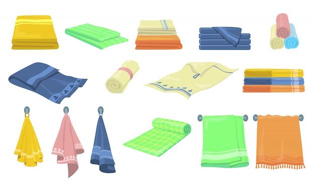 Kit de ícones de toalhas de banho e cozinha