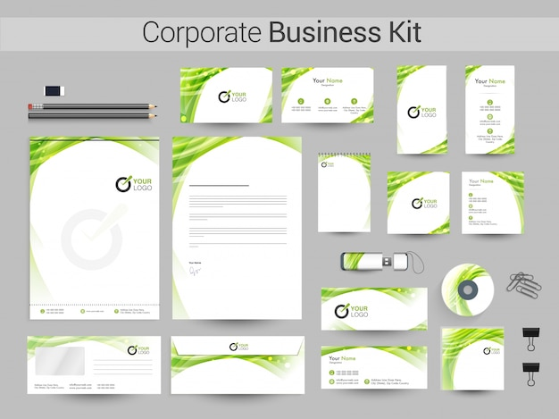 Kit de identidade corporativa com design abstrato verde.