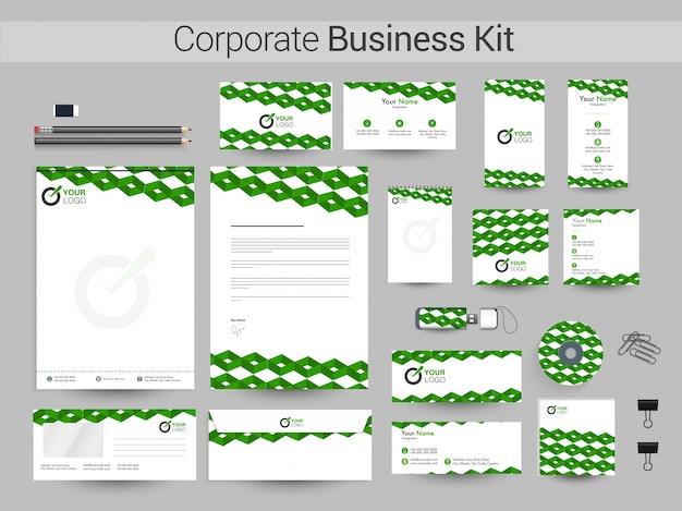 Kit de identidade corporativa com design abstrato verde.