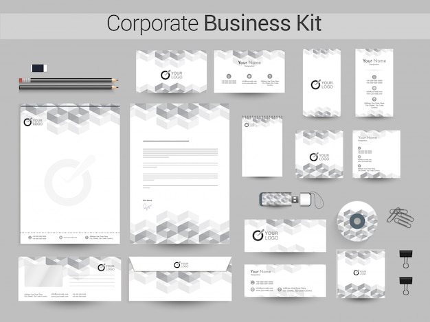 Kit de identidade corporativa com elemento geométrico cinza.
