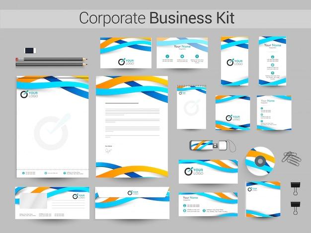 Kit de identidade corporativa com ondas azuis e amarelas.
