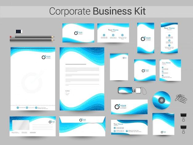 Kit de identidade corporativa com ondas azuis.