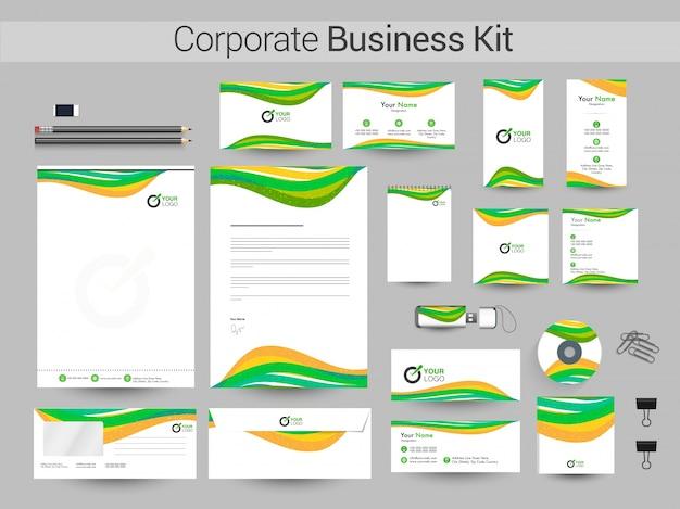 Kit de identidade corporativa com ondas verdes e amarelas.