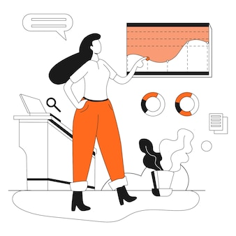 Kit de ilustração de negócios de marketing de análise de desenvolvimento