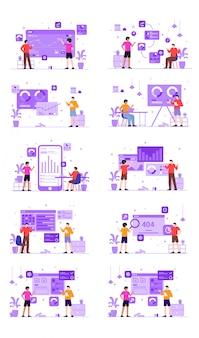 Kit de ilustração modular para análise de dados