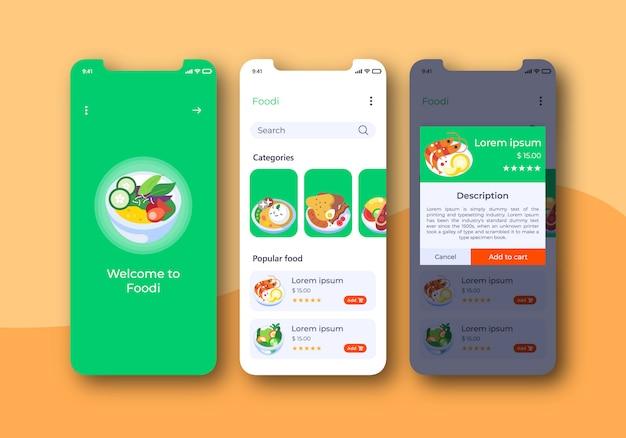 Kit de interface de aplicativo de alimentos para celular
