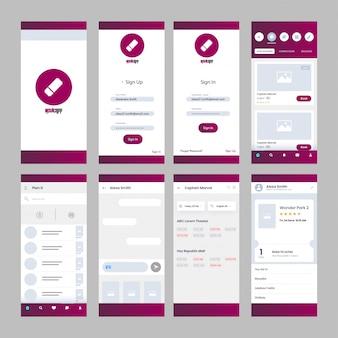 Kit de interface de usuário de aplicativo de filme para aplicativo móvel responsivo.