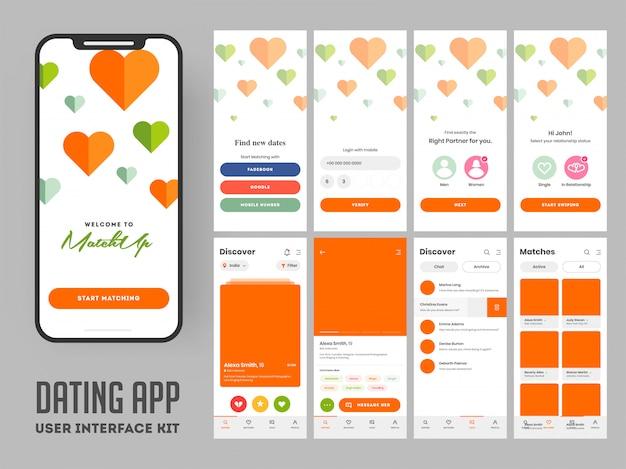 Kit de interface de usuário móvel de aplicativo de namoro.