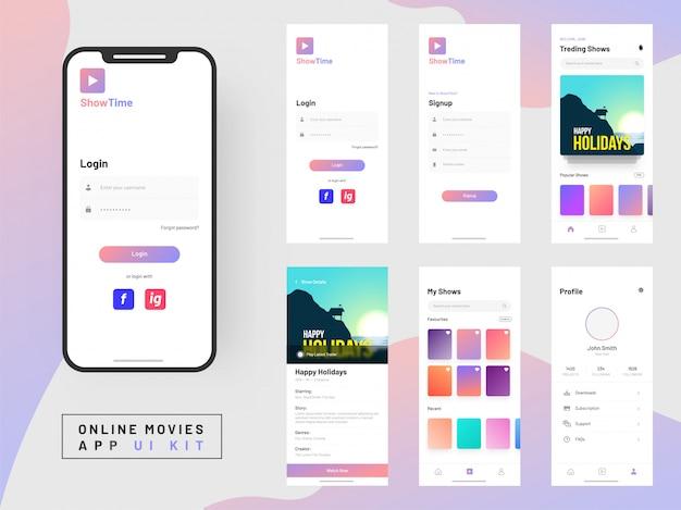 Kit de interface do usuário do aplicativo de filmes on-line para aplicativos móveis responsivos.