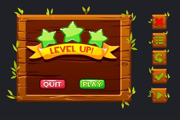 Kit de interface do usuário do jogo. menu de modelo de madeira da interface gráfica do usuário e botões para construir jogos.