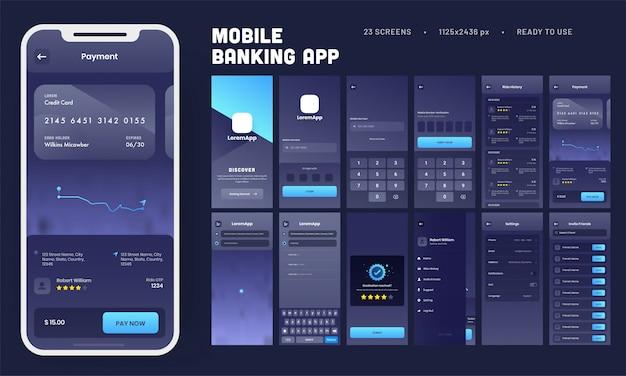 Kit de interface do usuário do mobile banking app com várias telas como login, verificação, histórico de viagens, pagamento, configuração e convite de amigos.