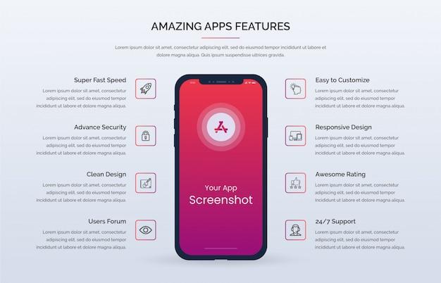 Kit de interface do usuário do modelo premium de recursos da web para aplicativos móveis