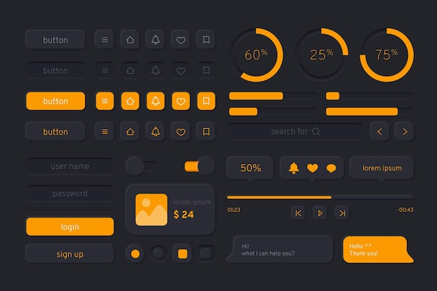 Kit de interface do usuário gradiente para aplicativos em modo escuro