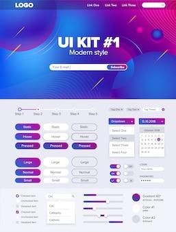 Kit de interface do usuário para o site ui kit para site de botões de modelo gui website