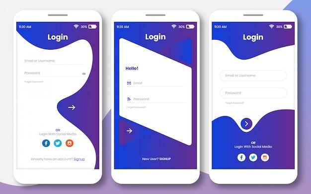 Kit de interface do usuário para qualquer aplicativo ou modelo de design de página de login
