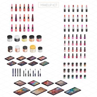 Kit de maquiagem isométrica