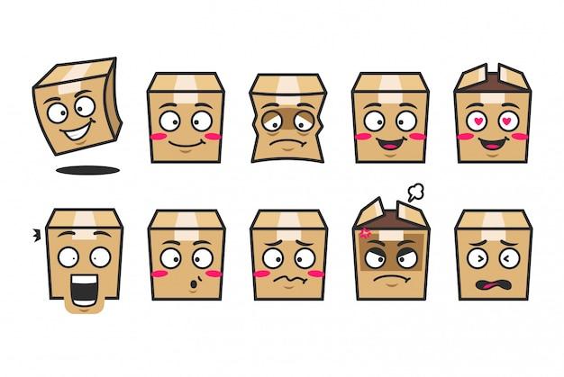 Kit de mascote de personagem de desenho animado emoji de caixa de papelão pacote em estilo bonito
