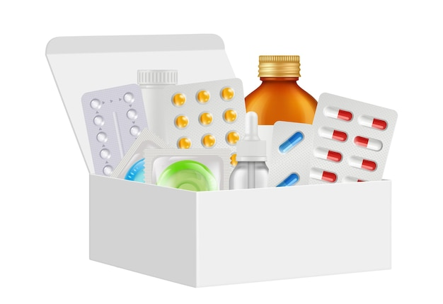 Kit de medicamentos. caixa de primeiros socorros, pílulas realistas, preservativos de garrafa. embalagem de papelão branco 3d isolada com ilustração vetorial de drogas. kit de caixa de ajuda médica, equipamento de emergência de medicamentos