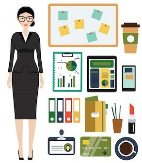 Kit de mulher de negócios.