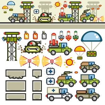 Kit de nível de jogo plano de base militar