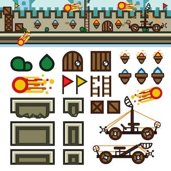 Kit de nível de jogo plano de castelo