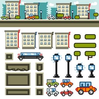 Kit de nível de jogo plano de cidade