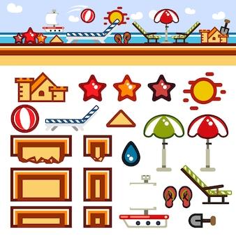 Kit de nível de jogo plano de praia