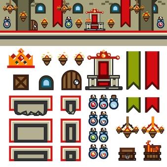 Kit de nível de jogo plano no interior do castelo