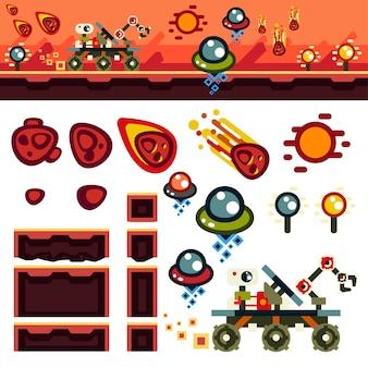 Kit de nível de jogo plano planeta vermelho