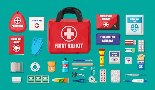 Kit de primeiros socorros com equipamento médico