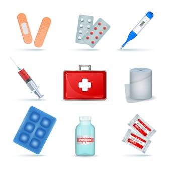 Kit de primeiros socorros fornece produtos médicos de emergência conjunto realista com lenços anti-sépticos de bandagem elástica
