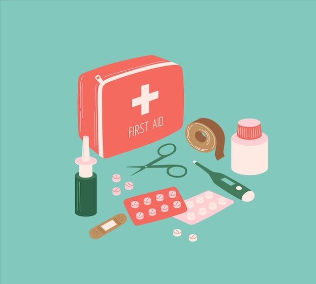 Kit de primeiros socorros médicos de vetor com tesoura de torniquete de spray de comprimidos e termômetro