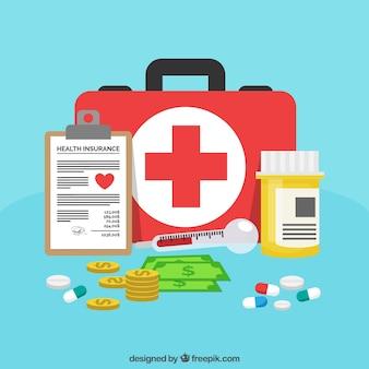 Kit de primeiros socorros, pílulas, dinheiro e prancheta