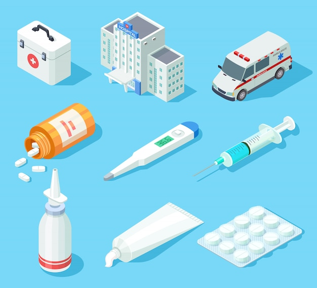 Kit de primeiros socorros. spray de farmácia médica, medicamentos e pílulas. carro de ambulância e hospital edifício conjunto isométrico vector isolado