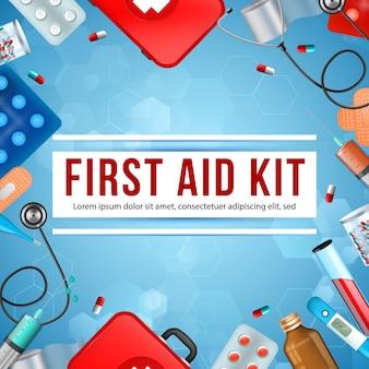 Kit de primeiros socorros square banner, equipamentos médicos